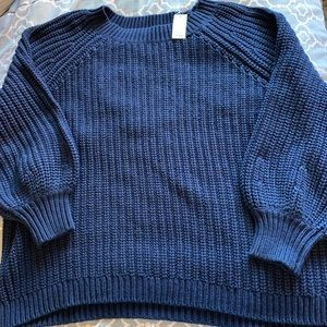 Aerie Knit Navy Blue Oversized Sweater